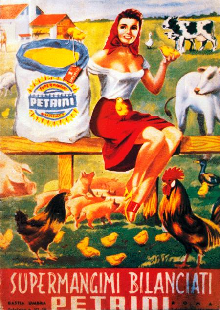 Manifesto-pubblicitario,-mangimificio-Petrini,-Basti-Umbra-(Perugia)-anni-'60