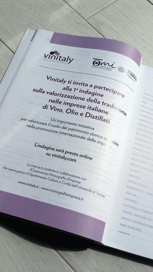 Lannuncio nel catalogo Vinitaly 2017