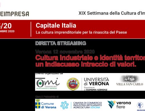 XIX Settimana della Cultura d'Impresa, Evento a Verona in diretta streaming